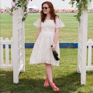 white tibi off the shoulder dress